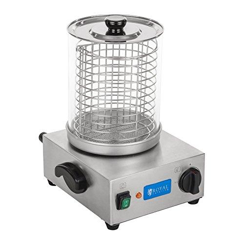Royal Catering Hot Dog Maschine Gastro Hot-Dog Maker Professionell RCHW 800 (Leistung 800 Watt, Temperatur 0-110 °C, Zylinderhöhe 24 cm, max. Würstchenanzahl 40)