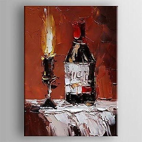 pittura ad olio bottiglia di vino e