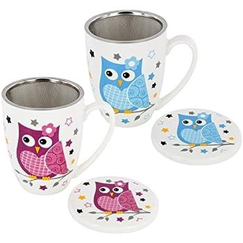 Tee Tasse Teebecher Set mit Sieb + Deckel Porzellan Motiv