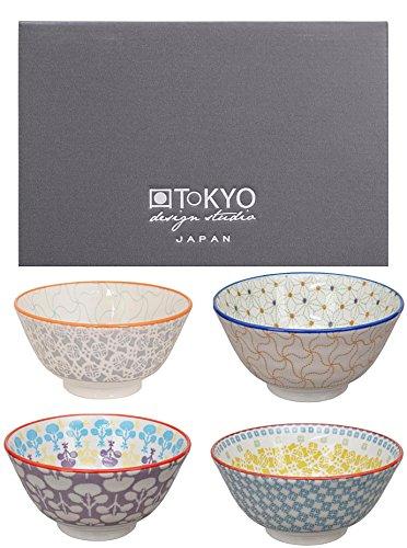 Tokyo Design Studio, Bol en porcelaine motif Baobab - Coffret de 4, Diamètre: 13.3cm