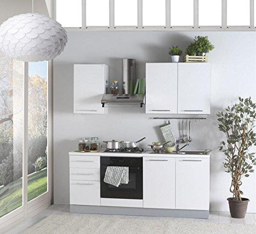 Arredocasa serafino cucina lineare momo 195 cm con elettrodomestici nella finitura bianco lucido.