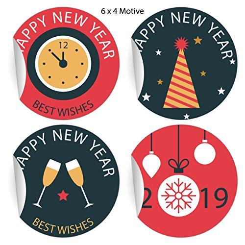 (24 rot blaue Retro Silvester Aufkleber zum Neujahr 2019, MATTE Papier Sticker für Geschenke, universal Etiketten für Deko, Pakete, Briefe etc (4,5cm) Happy New Year best wishes)