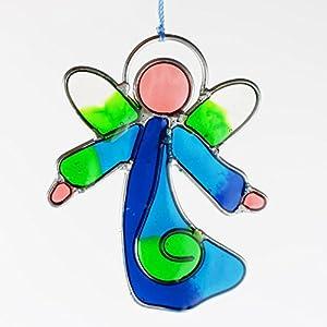 Fensterdeko Engel klein aus Resin türkis, grün   Fenster Deko zum Aufhängen   Regenbogenkristall   Sonnenfänger   Engel Deko Weihnachten   Deko Engel   Fensterschmuck Sommer
