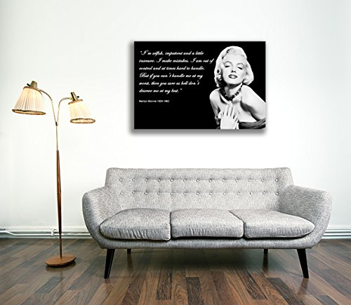 Canvas Culture - Marilyn Monroe Canvas Art Print Box Framed Picture 1 Black 90 x 60cm