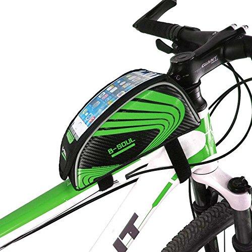 hysung Tasche Mountain Bike Fahrrad Obere Schlauch Touchscreen Handy Tasche Beam Sattel Bike Reiten Ausrüstung Grün
