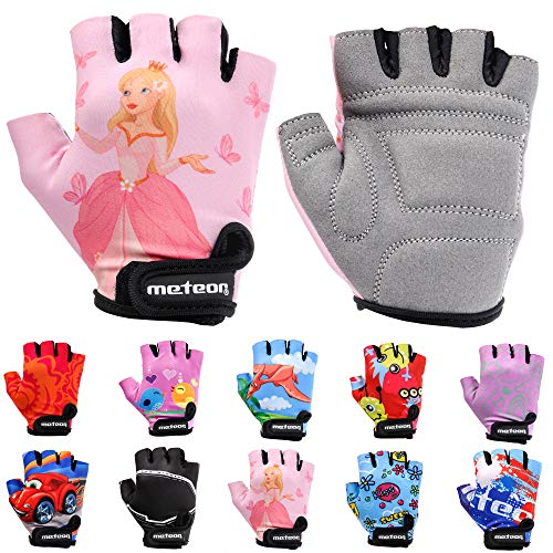 Meteor Cycling Gloves girls and boys - Bicycle Gloves for Kids MTB BMX Mountain Road Without Fingers (M ~ 7-7,5cm, Princess)