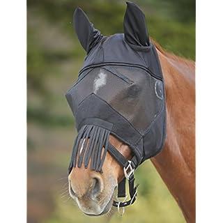 Amesbichler Fliegenmaske Premium + Ohrenschutz + Nasenfransen mit Elast. Einsätzen und Klett schwarz