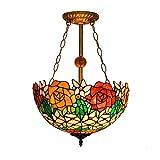 NNFK Tiffany lámpara del Techo del Estilo del vitral Pantalla de lámpara araña de los Granos del Cristal de Montaje Empotrado de Techo de iluminación E27, 40W MAX, Ø42cm