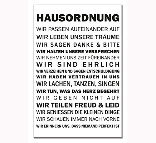 ld Wandschild Schild Hausordnung Druck auf MDF 60 x 40 cm ()