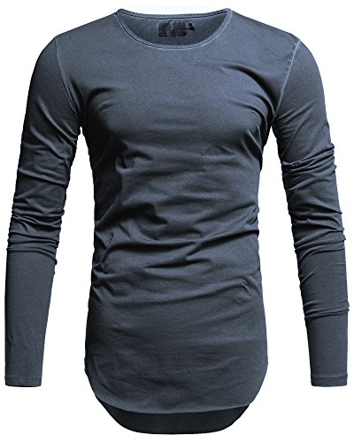 Crone Herren Langarm Shirt Longsleeve Slim Fit T-Shirt Leicht Oversize Basic Sweatshirt in vielen Farben (XXL, Navy Blue)