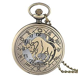 Zwölf Konstellationen Herren Taschenuhr Bronze Antik Retro Taschenuhr, Classic Geschenke für Herren (Taurus)
