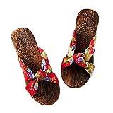 Pantofole donna zoccoli Sandali in legno stile cinese Scarpe stile giapponese antiscivolo fondo piatto per donna (Colore : Safflower, dimensioni : EU38/UK5.5/CN38)