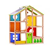 HAPE Beleduc Vierjahreszeiten-Haus(unmöbiliert) - inklusive Puppenfamilie und Stickerblock