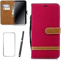 Samsung Galaxy A6 2018 Hülle, MISSDU Handyhülle Premium PU Leder Flip Tasche Wallet Case mit Integrierten Kartensteckplätzen [Gifts: Screen Protector, Touch Pen] - Rot