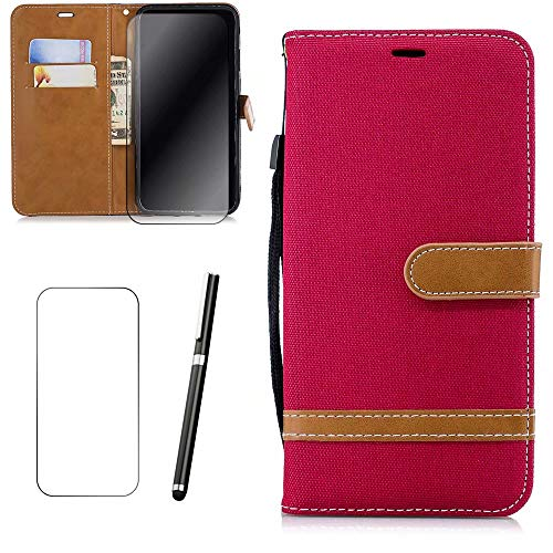 iPhone SE/5/5S Hülle, MISSDU Handyhülle Premium PU Leder Flip Tasche Wallet Case mit Integrierten Kartensteckplätzen [Gifts: Screen Protector, Touch Pen] - Rot (Pink Protector 5s Screen)
