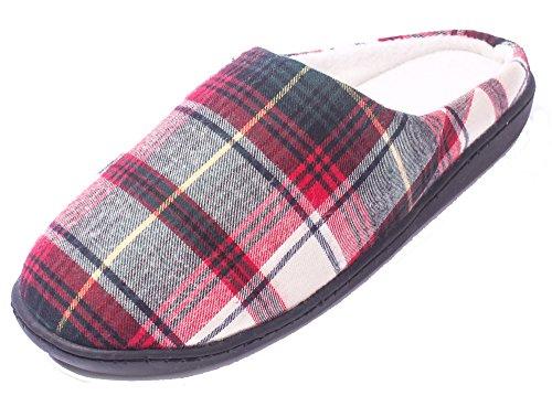AgeeMi Shoes Damen Warm Slip on Rund Schließen Zehe Innenraum Hausschuhe,EuT10 Grün Rot 6