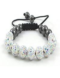11-Ball Multi White Crystal Bead Shamballa Bracelet on Black Cord string ** EXCLUSIVE DESIGN **