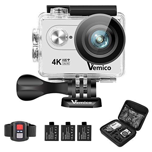 Wasserdichte Kameras (Action Cam, Vemico 4K Action Kamera WiFi Helmkamera Wasserdicht bis 40m 2.0 Zoll Display mit 2.4G Fernbedienung und 3 Wieder Aufladbaren Akkus)