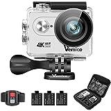 Vemico 4K Action-Kamera 16MP Ultra HD Helm Cam Wasserdicht bis 40m 2.0 Zoll Display mit 2.4G Fernbedienung und 3 Wieder Aufladbaren Akkus
