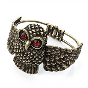 Ladies Antique Design Burnished Gold Effect Owl Hinge Bangle Brand New