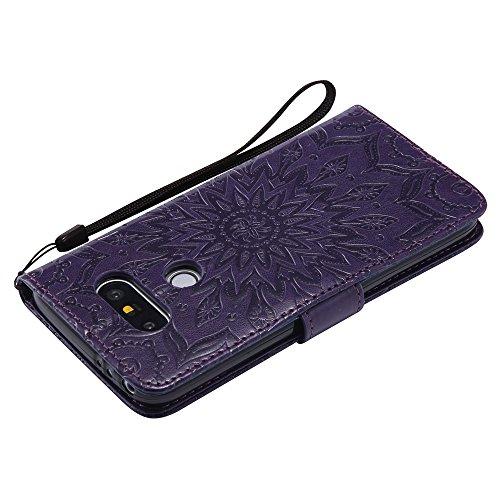 Für LG G5 Fall, Prägen Sonnenblume Magnetische Muster Premium Soft PU Leder Brieftasche Stand Case Cover mit Lanyard & Halter & Card Slots ( Color : Pink ) Purple