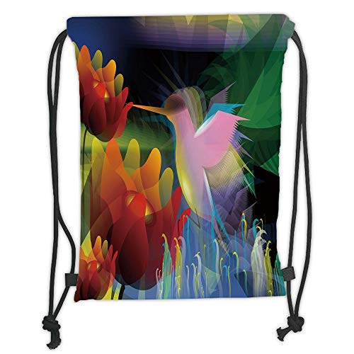 Icndpshorts Drawstring Backpacks Bags,Art,Fantasy Digital Paint with A Bird Swallows Honey from Flower Stock Fractal Artwork Decorative,Multicolor Soft Satin,5 Liter Capacity,Adjustable String -