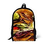Best Backacks - Hamburger Pattern School Bag Camups Teenager Book Backack Review