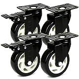 H&S® 4 Heavy Duty 100mm PU Swivel Castor Wheels Trolley Furniture Caster with Brakes - 600KG
