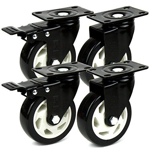H&S® 4 Heavy Duty 100mm PU Swivel Castor Wheels Trolley Furniture Caster with Brakes - 600KG Test