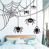 Toiles D'Araignées Halloween Sticker Mural Chambre D'Enfants Chambre Spider Cobwebs Animaux De Noël Sticker Mural Partie Salon Vinyle Décor 70X56Cm Stickers Muraux Fond D'Écran 3D