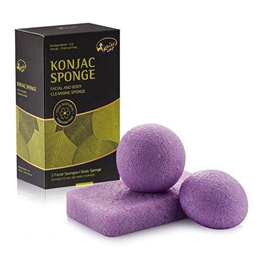 Kaiercat Spugna di Konjac 100% naturale per viso & corpo, Delicatamente esfoliante, pulizia profonda, per pelle sensibile, grassa & incline all'acne (Lavanda)