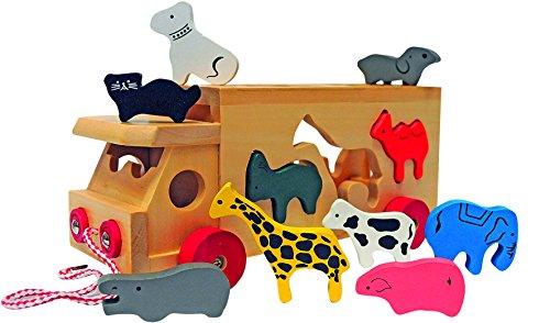 Woody Holz - Sortier - Auto / Truck / LKW. Mit vielen farbigen Tierfiguren und Ladeöffnung