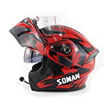 LKJCZ Anti-Fog Doppelobjektiv-Motorrad-Bluetooth-Helm Mit UKW-Funktion,Red,S