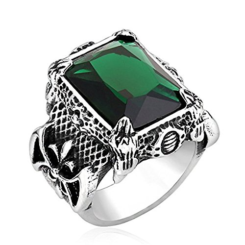 TOPSTARONLINE Men's Vintage Stainless Steel Dragon Claw Crystal Ring Green