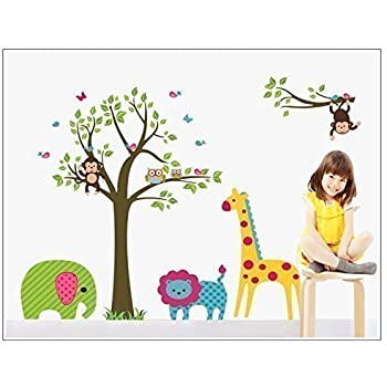Discountfan Large Colorful Tree U0026 Jungle Animals Wall Sticker Nursery  Bedroom Wall Art Decor Cute Giraffe Part 90