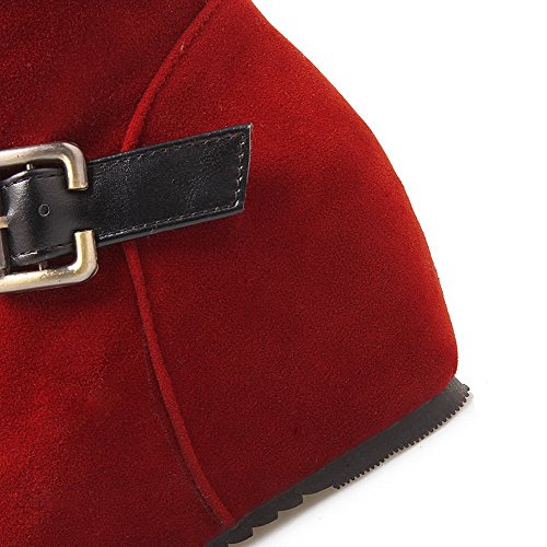 AgooLar Femme Lacet à Talon Correct Couleurs Mélangées Haut Demi Bottes avec Boucle Rouge
