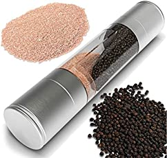 Shopo Stainless Steel with Adjustable Ceramic Mechanism Dual Salt and Pepper Grinder