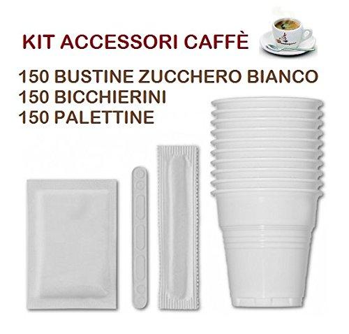 KIT ACCESSORI CAFFÈ con 150 BUSTINE DI ZUCCHERO + 150 BICCHIERINI + 150 PALETTINE