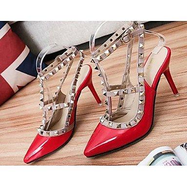 Moda Donna Sandali Sexy donna caduta tacchi tacchi PU Casual Stiletto Heel Rivetto nero / rosso / bianco altri Red