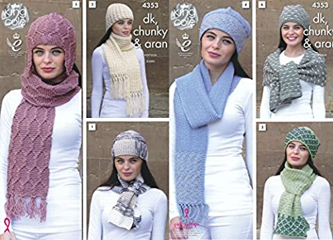 King Cole Ladies DK Chunky & Aran Knitting Pattern Womens Hat & Scarf Accessories (4353) by King Cole
