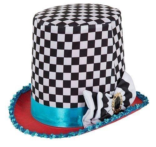 Damen Herren Kariert Verrückter Hutmacher Alice im Wunderland-Tea-Party Kostüm Hut Outfit (Hut Wunderland Alice Im)