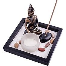 SKU:T1020 - Jardín zen, con arena, figura de Buda, rocas, portavelas, soporte para incienso y pulsera roja de Mxsabrina