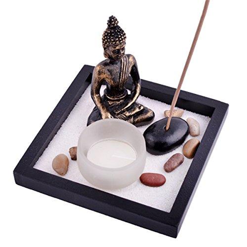 juanxian Zen Garden Garten Sand Buddha Rocks Tealight Incense Holder Feng Shui W Free Mxsabrina Red String Bracelet SKU:T1020