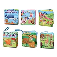 Xiluck Cloth Books For Kids,Soft Cloth Books,Cotton Safety Children Animals Early Education Books Brain Development Education Books Soft Cloth Books For Babies (6 Pack)