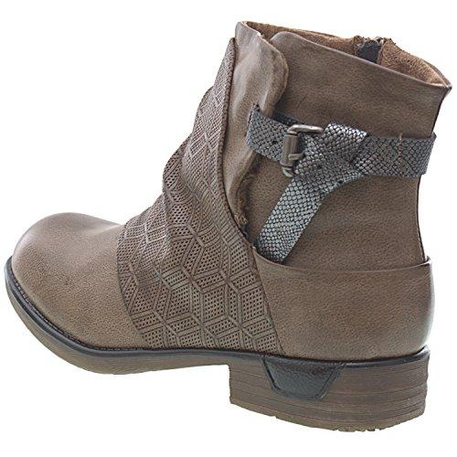 Sopily - Chaussures Mode Femme Bottines - Cavalier Bottines Femme Femme Boucle Chain Block Talon 3 Cm - Semelle Intérieure Synthétique - Fourrure Doublée - Beige Grey