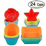 Silikon-Backförmchen (24 dicker Cupcake mit 4 Formen) Runde und quadratische Muffinformen Liner - wiederverwendbare Backformen für die Herstellung von Schokoladenbrot, BPA-frei und FDA zugel
