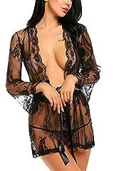 Idea Regalo - Vsecrety Donna Sexy Erotico Pizzo Trasparente Aperto-anteriore Babydoll Lingerie Intimo con G-string