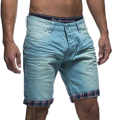 LEIF NELSON Herren Jeans Shorts LN1399-2826; W33; Gruen - Grüne Jeans-shorts