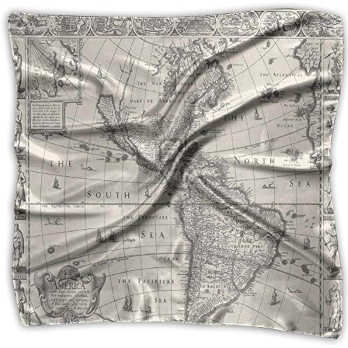 Unisex Bandana Head and Neck Tie Neckerchief Headdress Silk-Like,Antique Map America In 1600s World In Medieval Time Ancient Era In Retro Style,Square Scarves Bandana Scarf -