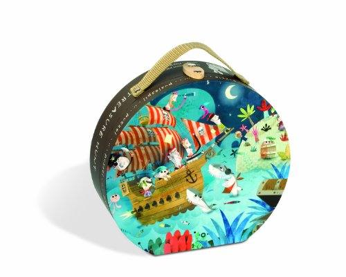 Imagen principal de Janod Puzzle 36 piezas con maleta redonda, En Búsqueda del Tresoro (J02922)